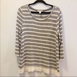 Loft | 3/4 Length Sweater with Lace | Size Large